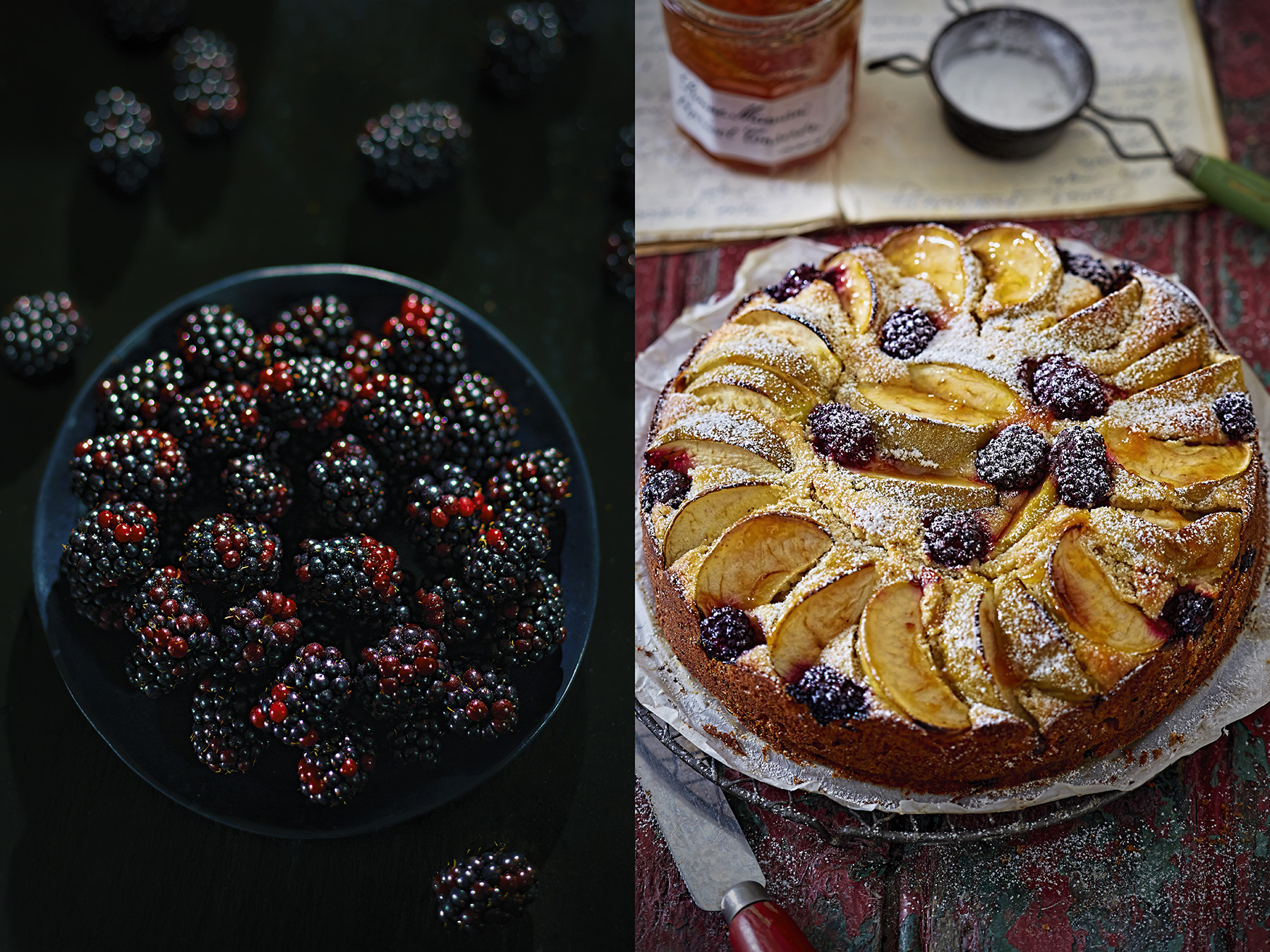 Blackberries and autumn apple and blackberry cake