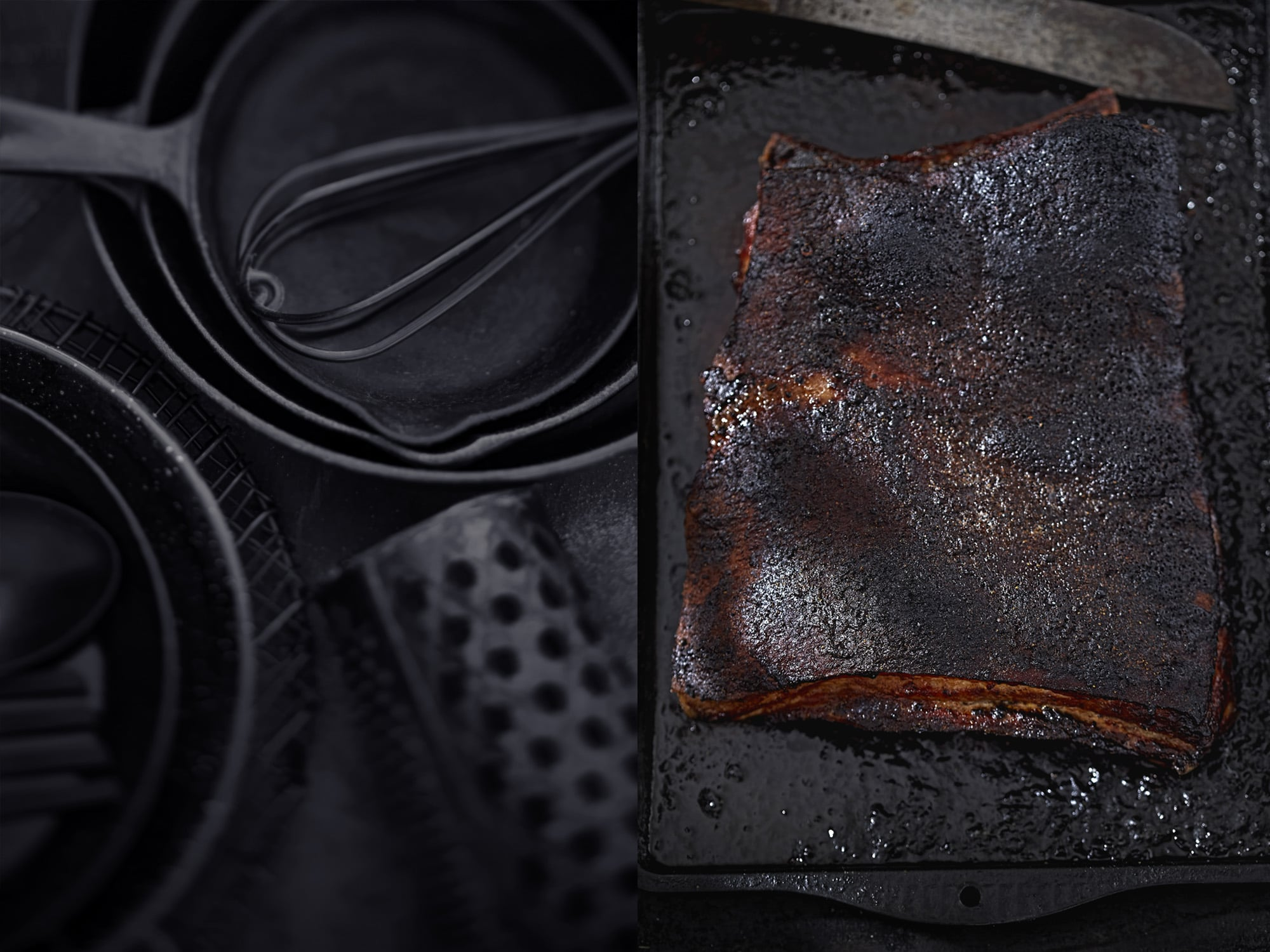 Back to black, Kitchen tools and Mexican rub pork belly
