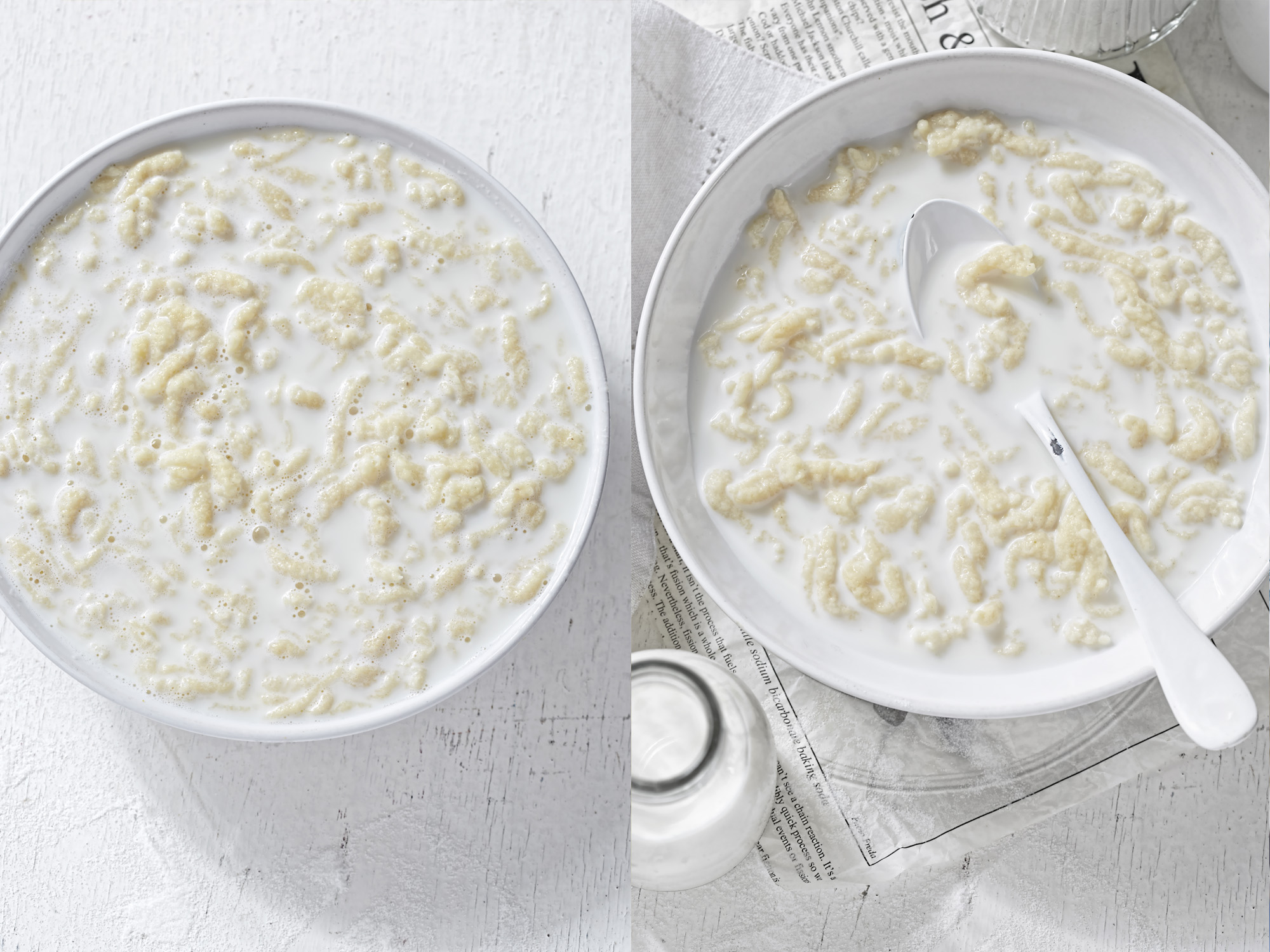 White as snow milk soup with poured noodles