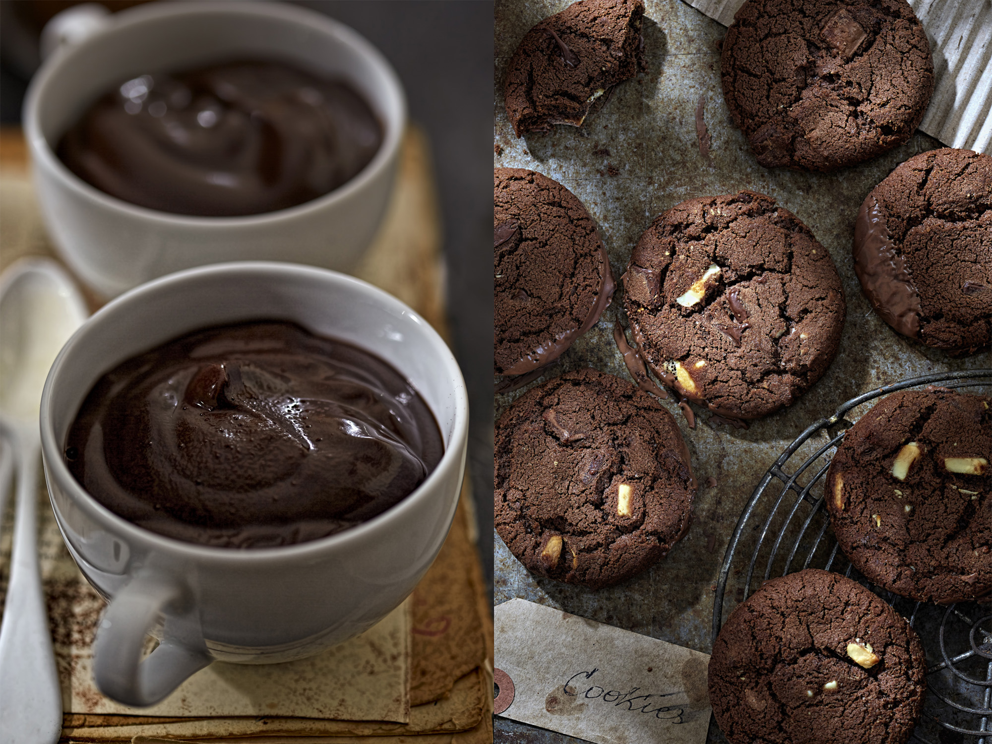 Chocolate pudding and cookies