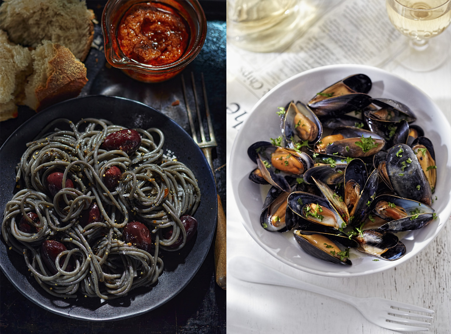 Black pasta with black olives and mussles in white wine