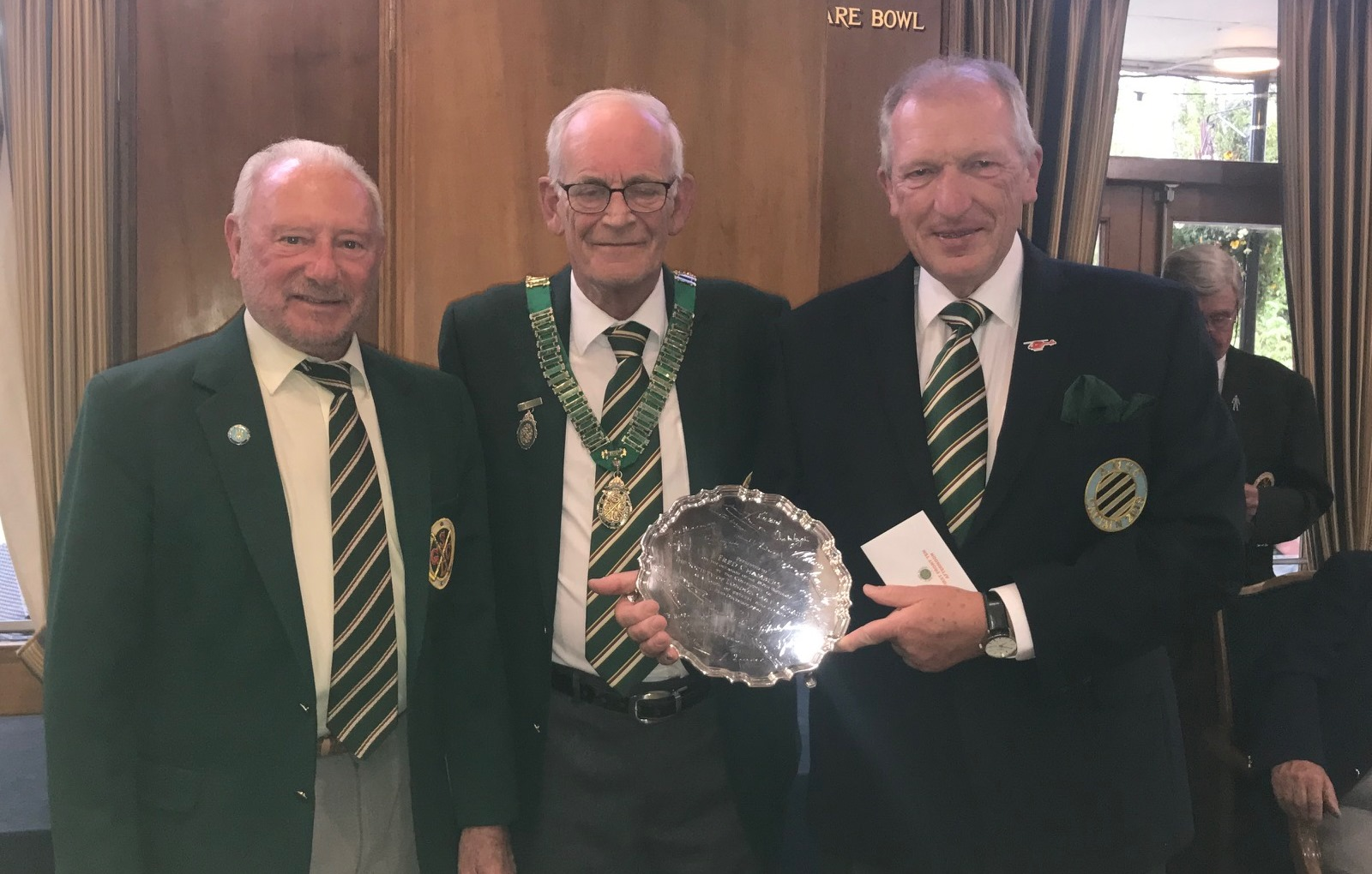 Captain Peter Cansick pictured with winners of the Fred Chambers Plate David Morrison Ashford Manor and Alan McWilliam from Datchet Golf Club