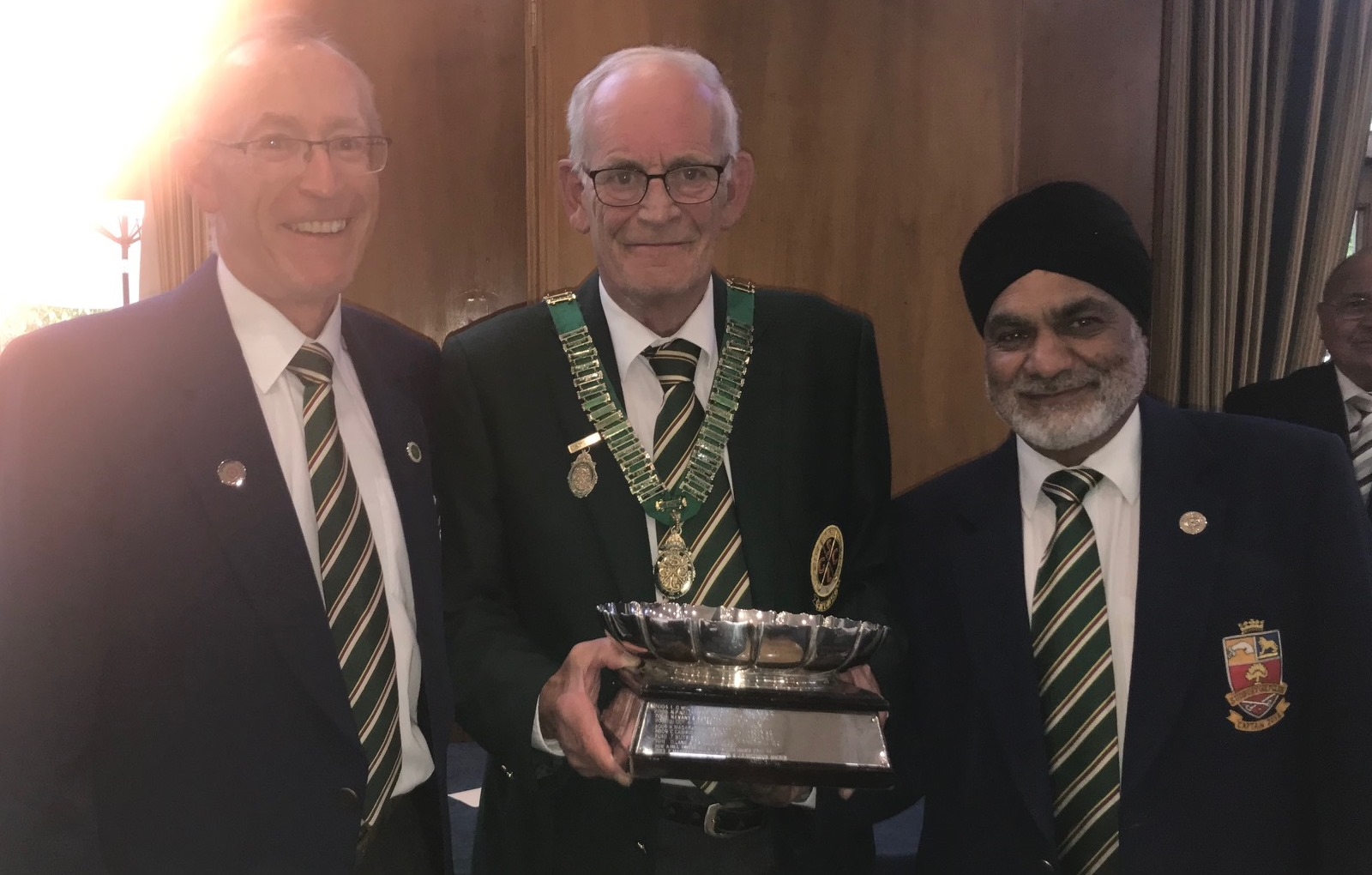 Captain Peter Cansick pictured with winners of the Fred Chambers Trophy Craig Randall and Tejinder Soor of Sudbury Golf Club
