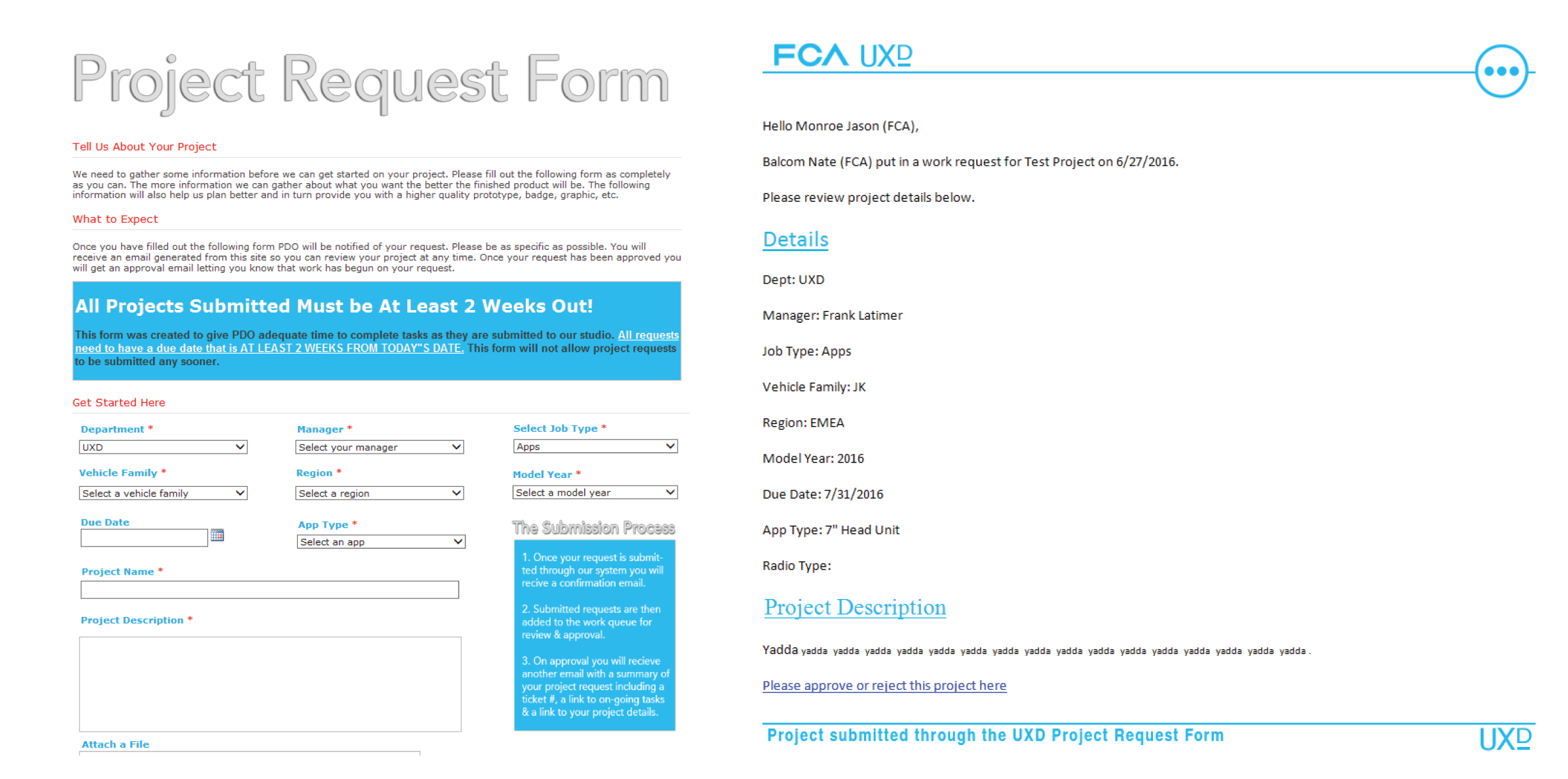 The original project request form and email reply. The problem with this is that many people would not read the introduction or notice the submission process instructions. This caused a lot of miscommunications and many people sent several extra emails to the UX team asking them if they have received their request or not.