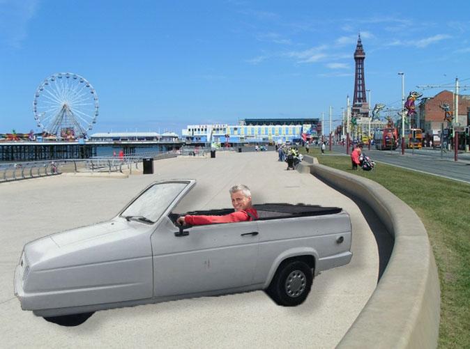 A Muddy Madam mock up of Matt LeBlanc in Blackpool.