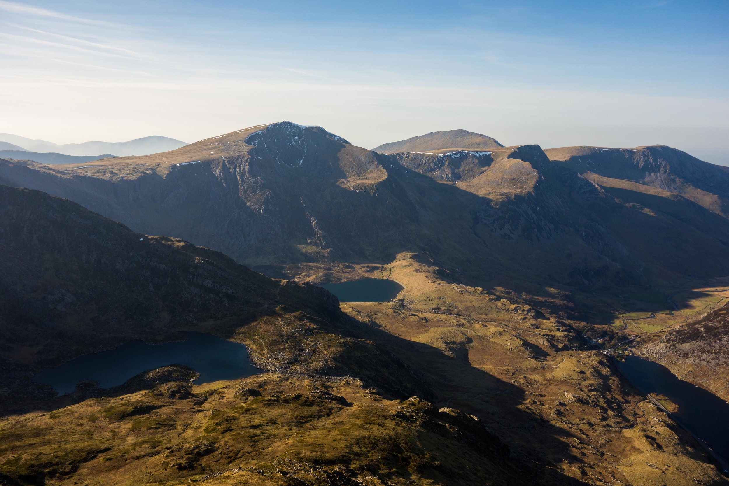 The view from the top of Tryfan over to Y Garn and Elidr Fawr