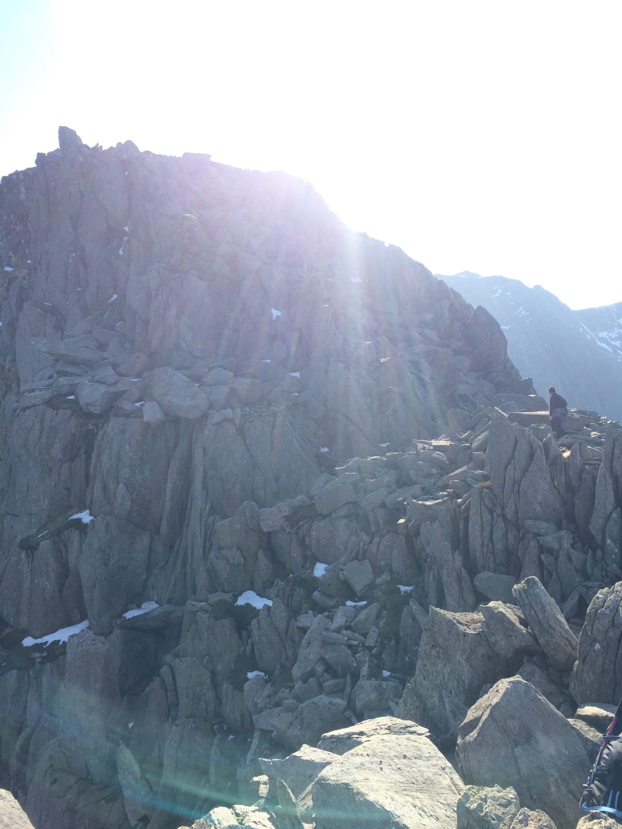 Final scramble on Tryfan up to the summit point