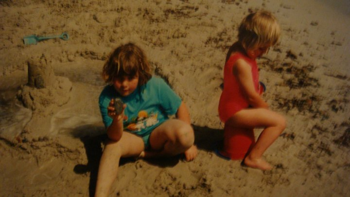 Playing on the beach, me and my sister 1997, in Majorca.