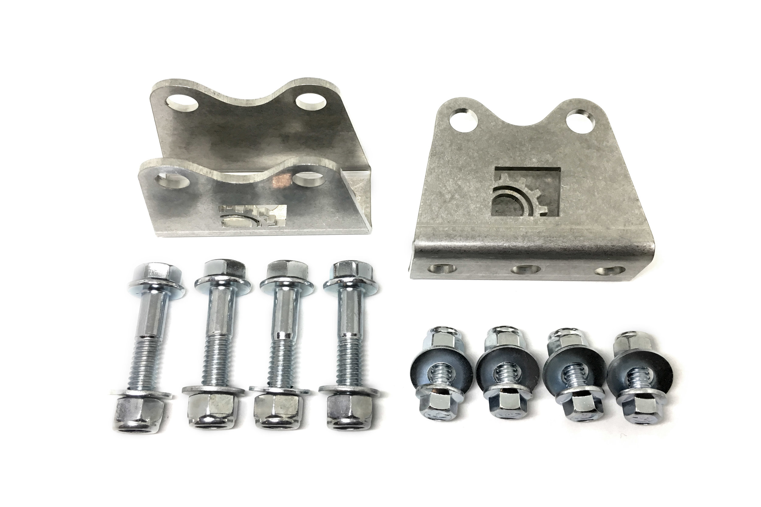 Shown here are the mounts, sold in pairs, along with all included grade 5 hardware.