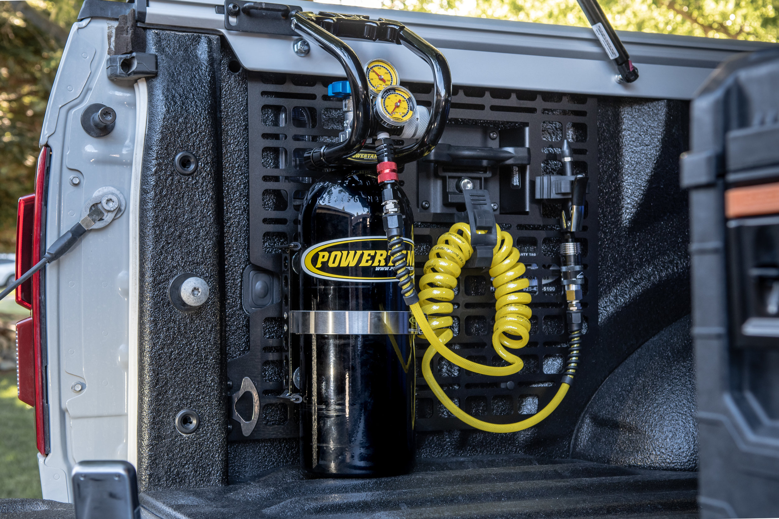 Ford Raptor Bed Rack shown here with a Powertank mounted for off road use.
