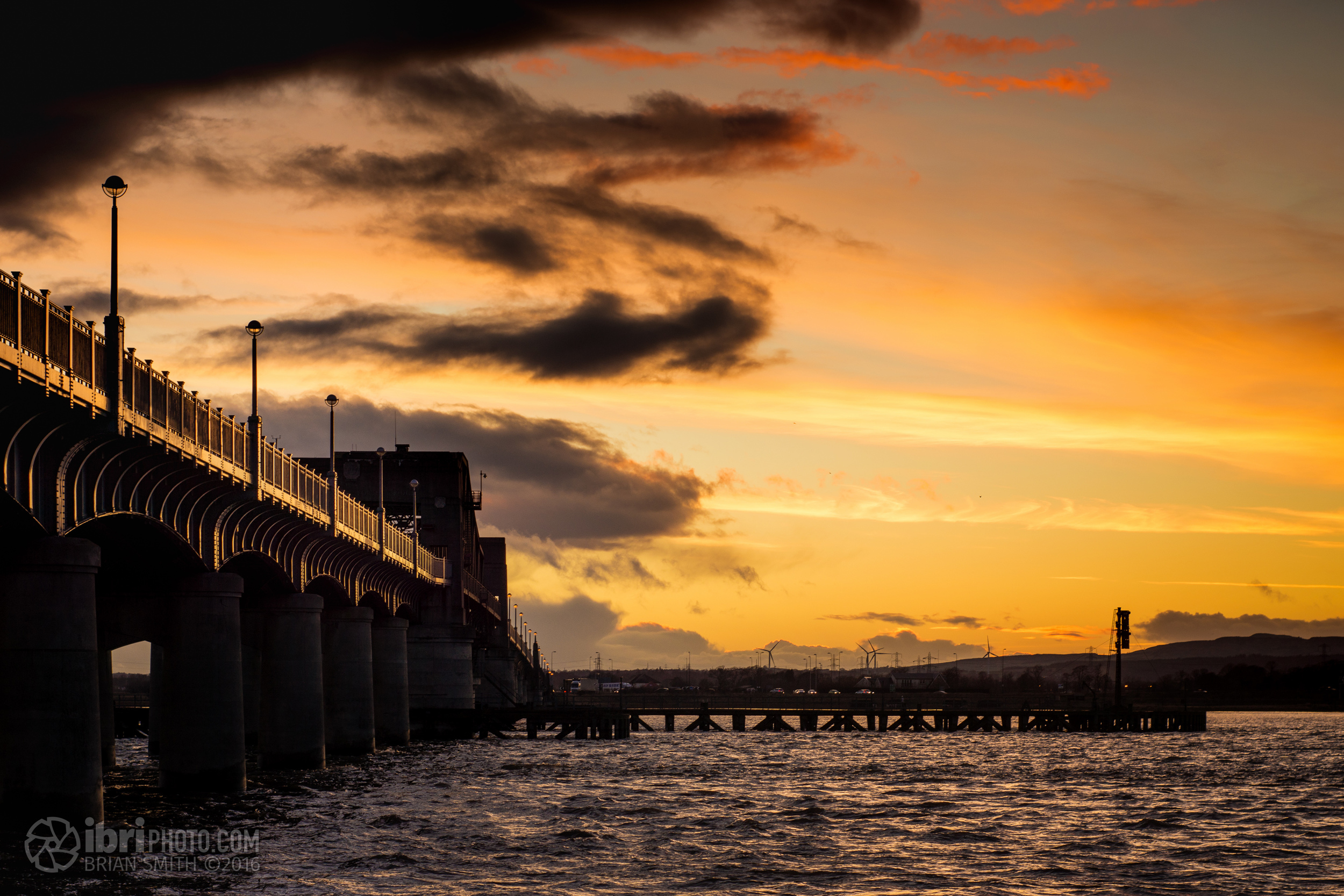Looking south over the River Forth at sunset.
