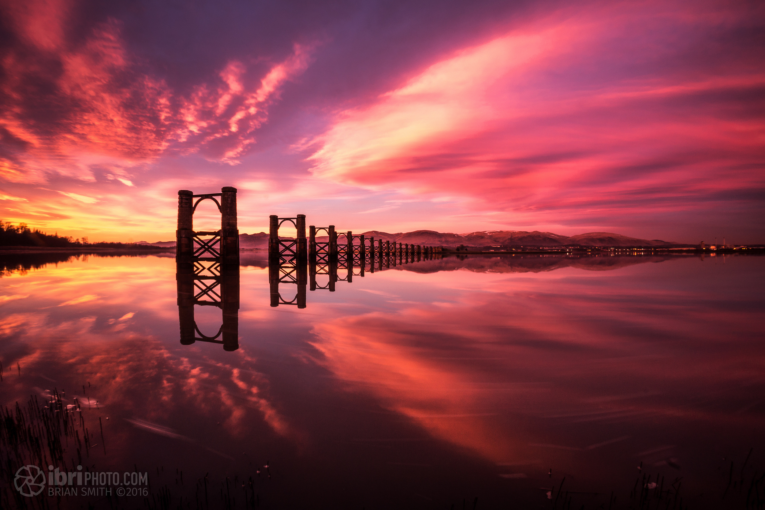 February fired up. The remaining pier supports of the old Alloa Swing Bridge that used to carry trains over the River Forth from Alloa towards Throsk.