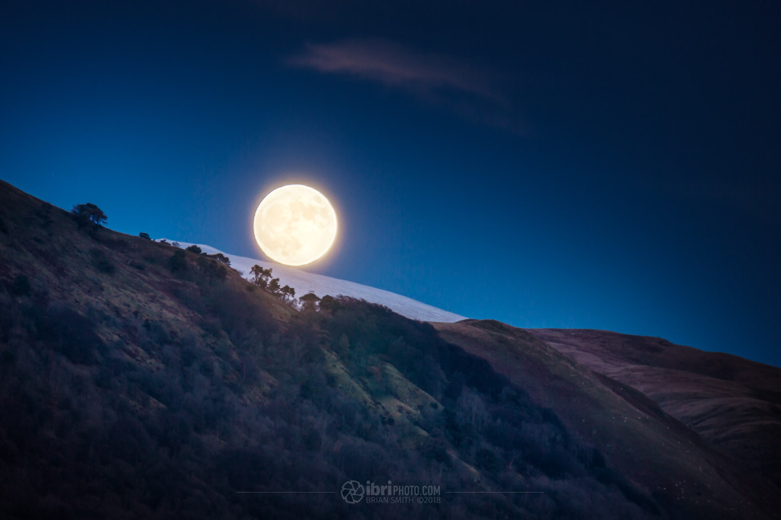 The SuperMoon - at 99.7% - rising over the Ochil Hills on The first day of 2018.   Instagram