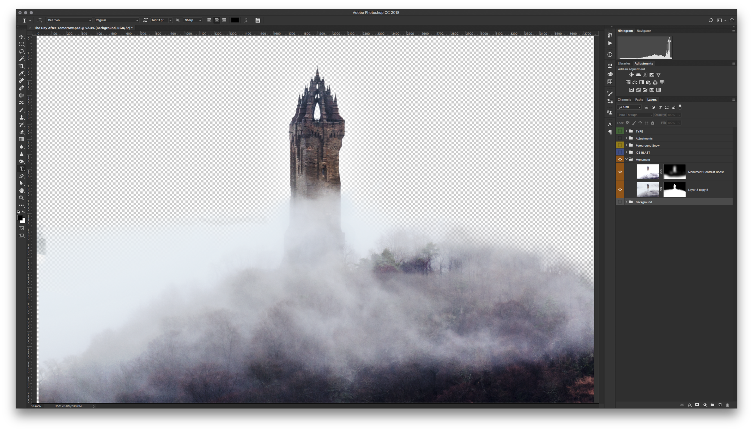Found a misty and moody shot of the  Wallace Monument  and again used the Select and Mask.. feature to remove the sky. The layer was then duplicated, its blend mode changed to Multiply and tweaked to increase the contrast for amore exaggerated effect.