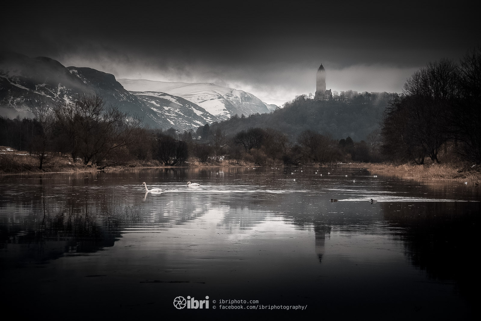 An ever changing view - from a bend on the River Forth in Stirling and taking in the Wallace Monument and the Ochil HIlls.