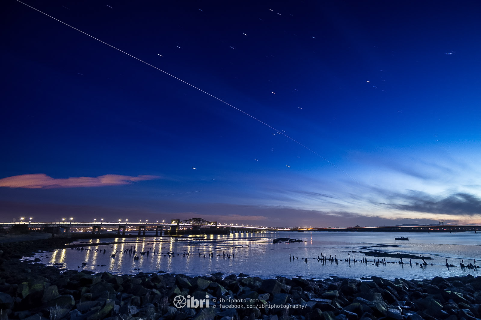 International Space Stations pass over the Kincardine Bridge on April Fool's Day.