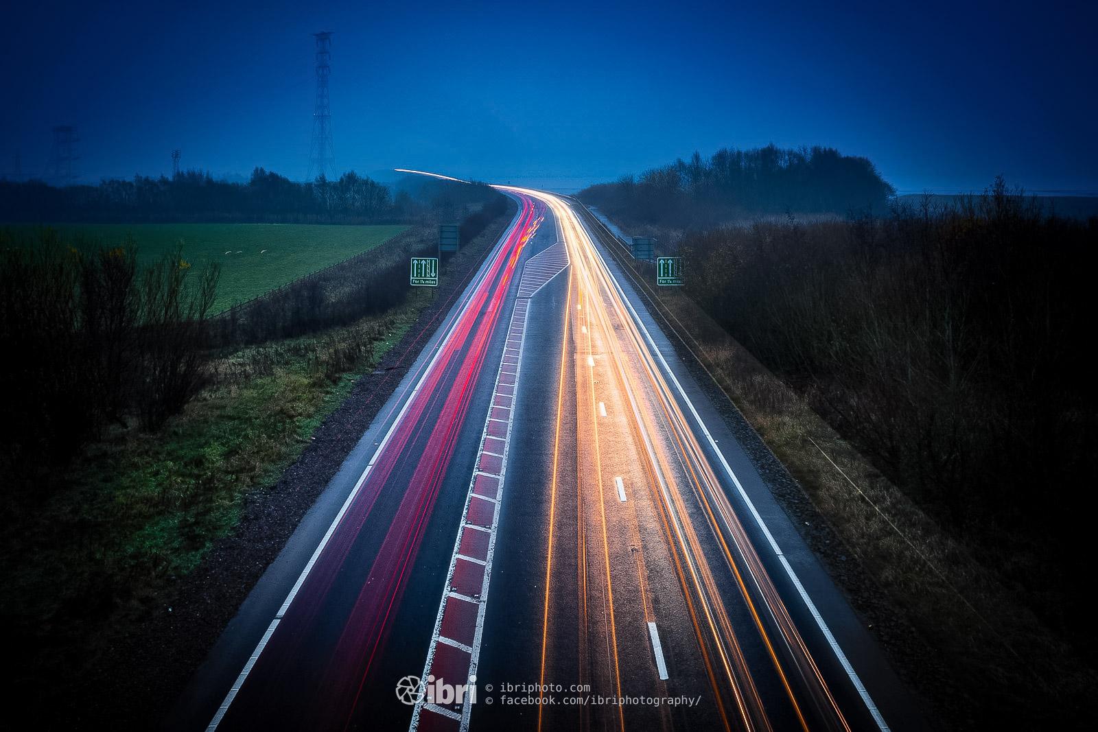 Darker nights again and vehicle trails over the Clackmannanshire Bridge near Kincardine.
