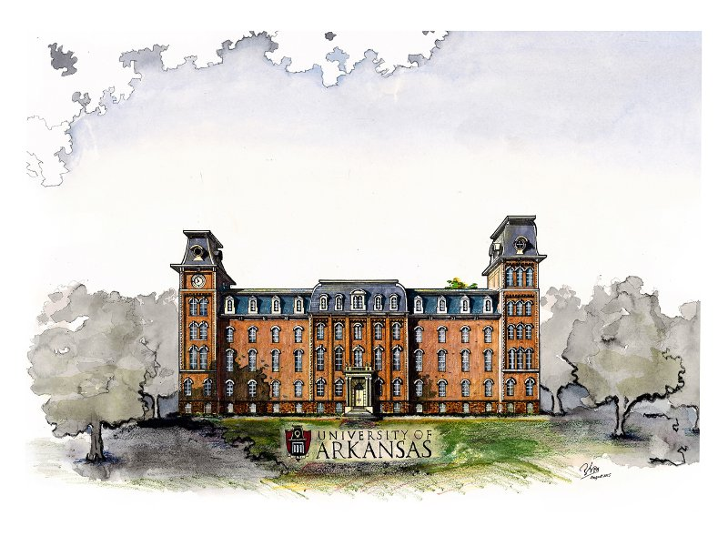 Finished drawing: Old Main at University of Arkansas