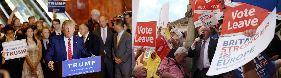 Donald Trump with presidential supporters, and Boris Johnson with Brexit supporters.