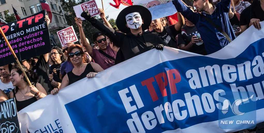 Demonstrations against the TPP in Santiago, Chile