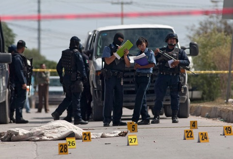 Mexican Police at Drug Related Crime Scene, Ciudad Juárez