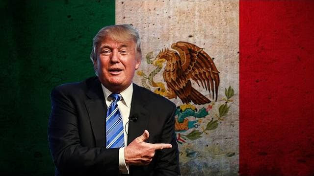 President Donald Trump in front of the Mexican Flag