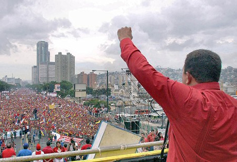 Hugo Chavez Speaking to Supporters
