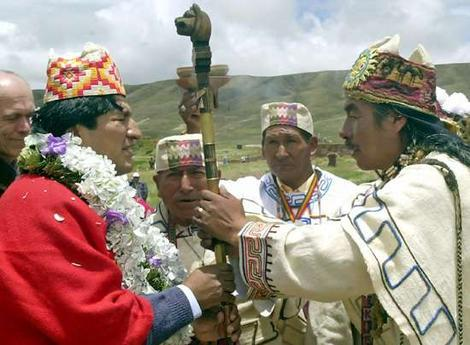 President Evo Morales with Guarani Indigenous Leaders