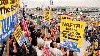 Worker protests against NAFTA