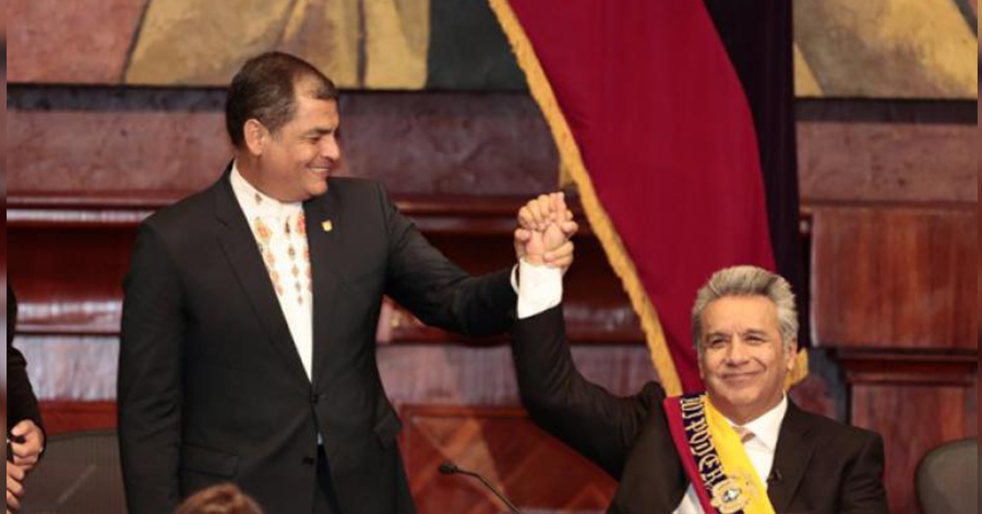 Former President Raphael Correa and Incoming President Lenín Moreno, following Moreno's election victory in 2017