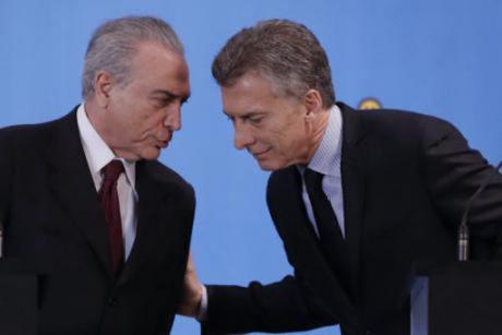 Brazilian President Michel Temer and Argentine President Mauricio Macri