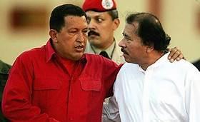 Former Venezuelan President Hugo Chavez and current Nicaraguan President Daniel Ortega