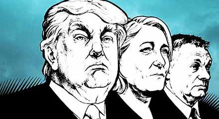 Right populist leaders: Donald Trump, Marine Le Pen, and Viktor Orbán