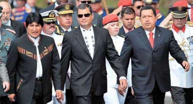 President Evo Morales (Bolivia) and former presidents of Ecuador and Venezuela, Raphael Correa and Hugo Chavez