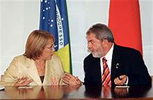 Former social democratic presidents of Chile (Michelle Bachelet) and Brazil (Luiz Inácio Lula da Silva