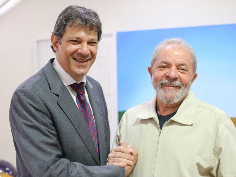 PT presidential candidate Fernando Haddad with former president Lula