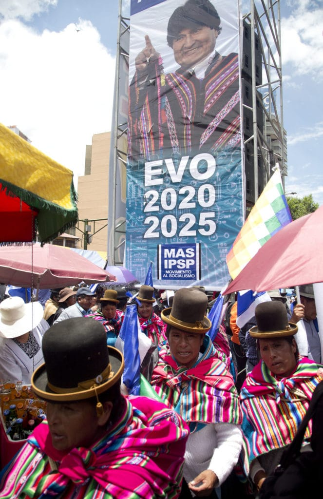 Supporters of Evo Morales running for a fourth term