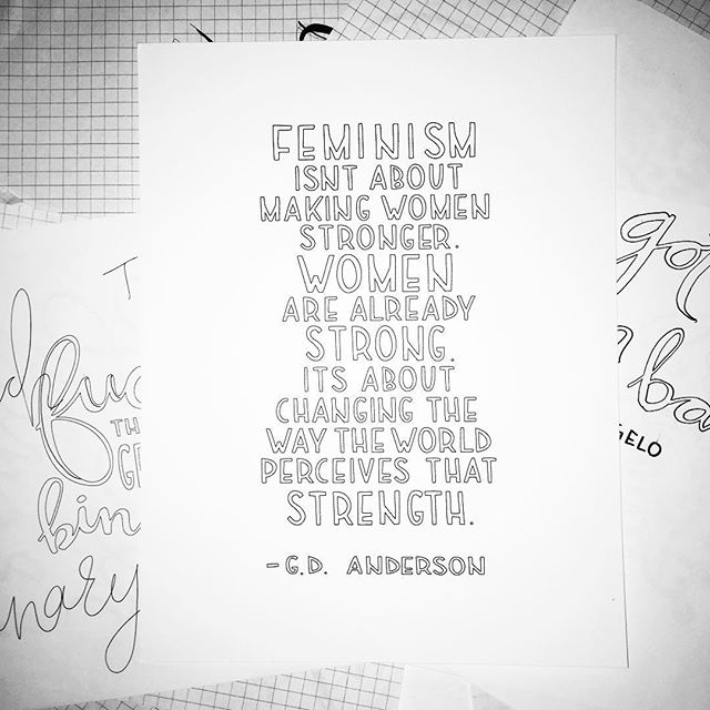Organizing and looking through my old sketches. Interesting to see my process when compiling quotes for my coloring book. I love looking back on old projects, I can see myself making decisions and working through problems. Completely inspiring! #illustrator #illustration #penwomanship #feminist #feministquote #femme #feminisim #quotes #type #handtype #coloringbook #process #iamenough #iamenoughcoloringbook