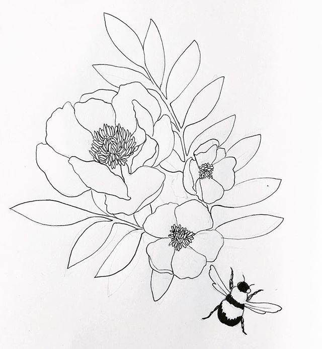🌼Forgot how much I love drawing florals🌸#floraldrawing #botanical #sketches #drawing #bees #gettingbacktoit
