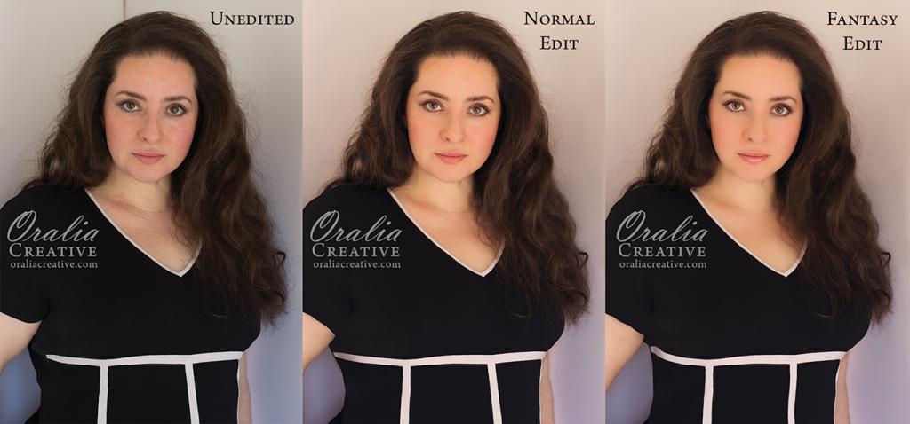 Oralia Creative - Unedited, Normal Edit and Fantasy Edit examples.