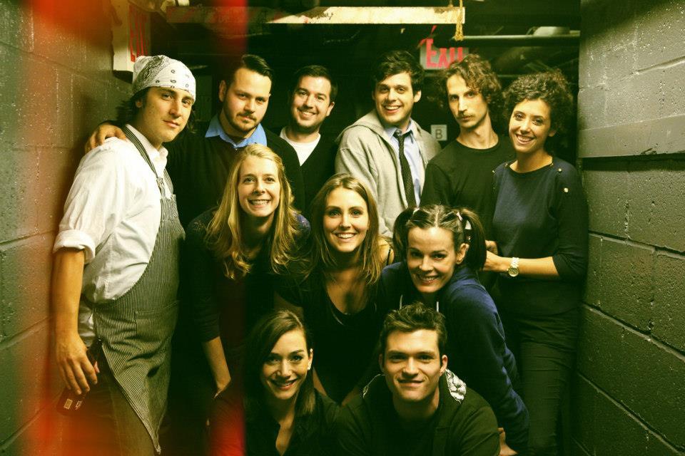 Onassis Backstage at UCB NY. Left to right: Jason Saenz, Frank Hejl, Dawn Luebbe, Jocelyn DeBoer, Mike Scollins, Lauren Adams, Paul Briganti, Josh Ruben, Kassia Miller, Rob Michael Hugel, Emily Altman.