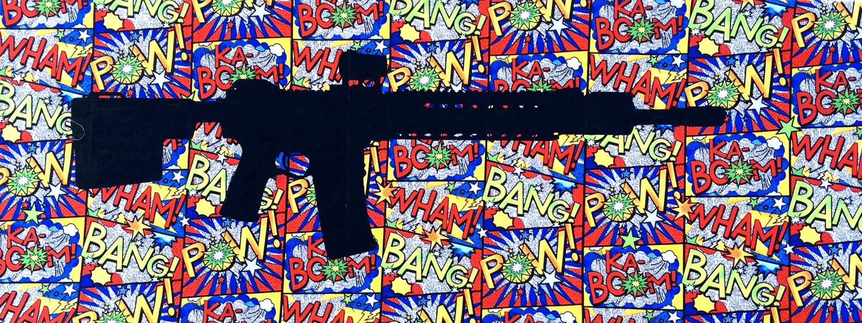 "16""x40"" screenprint on fabric"