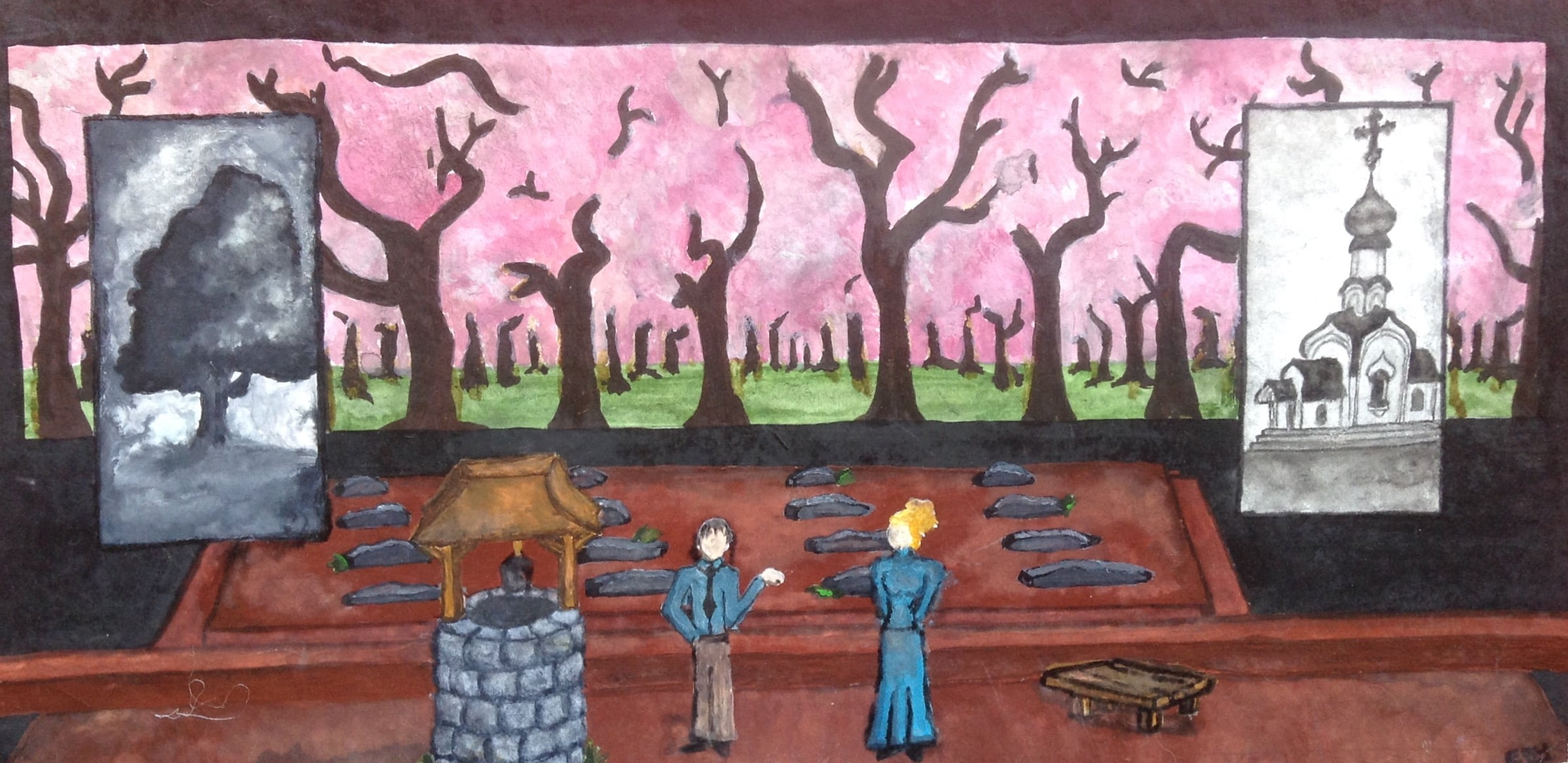 THE CHERRY ORCHARD:   Act II  Materials: gouache, watercolor paper