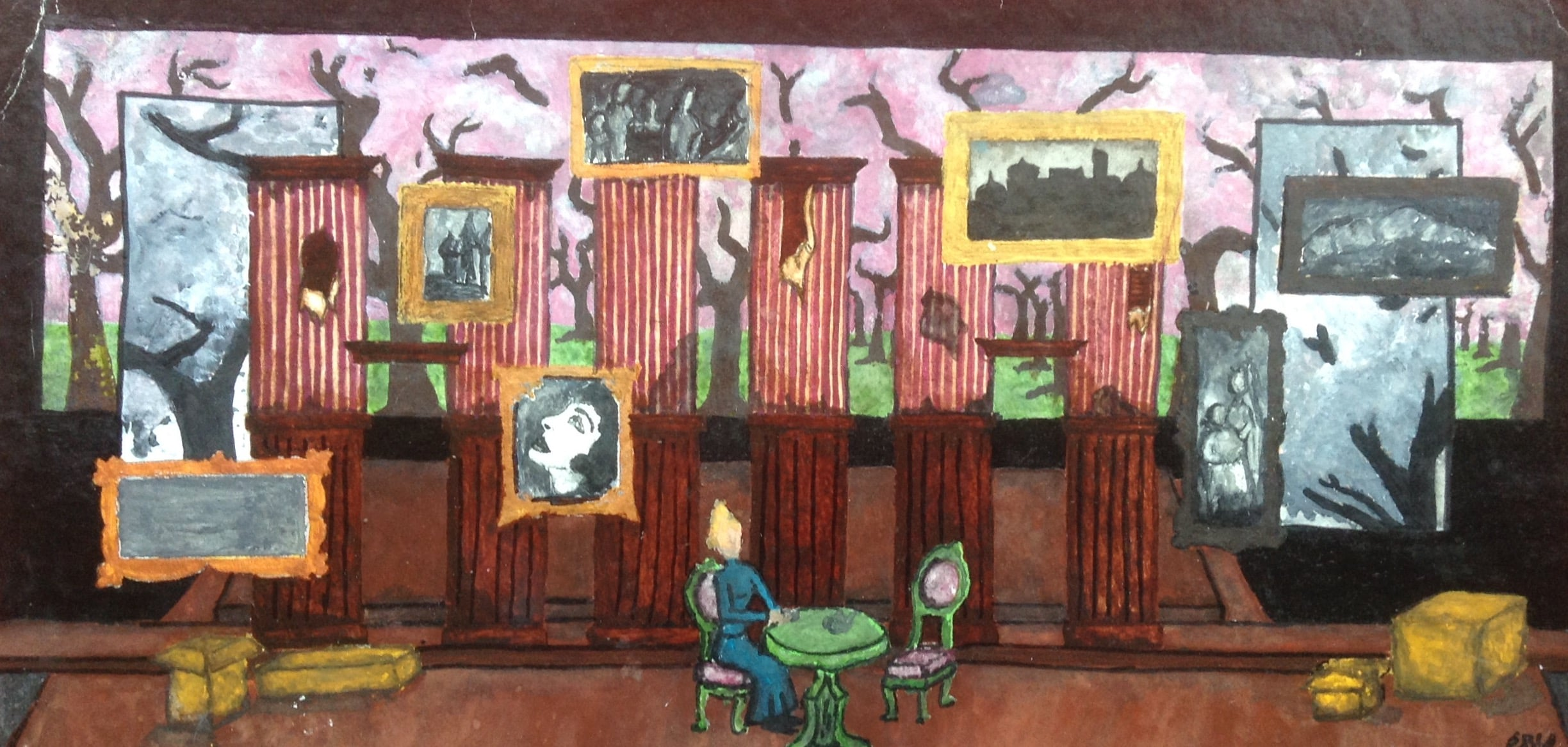 THE CHERRY ORCHARD:   Act I, Act IV  Materials: gouache, watercolor paper