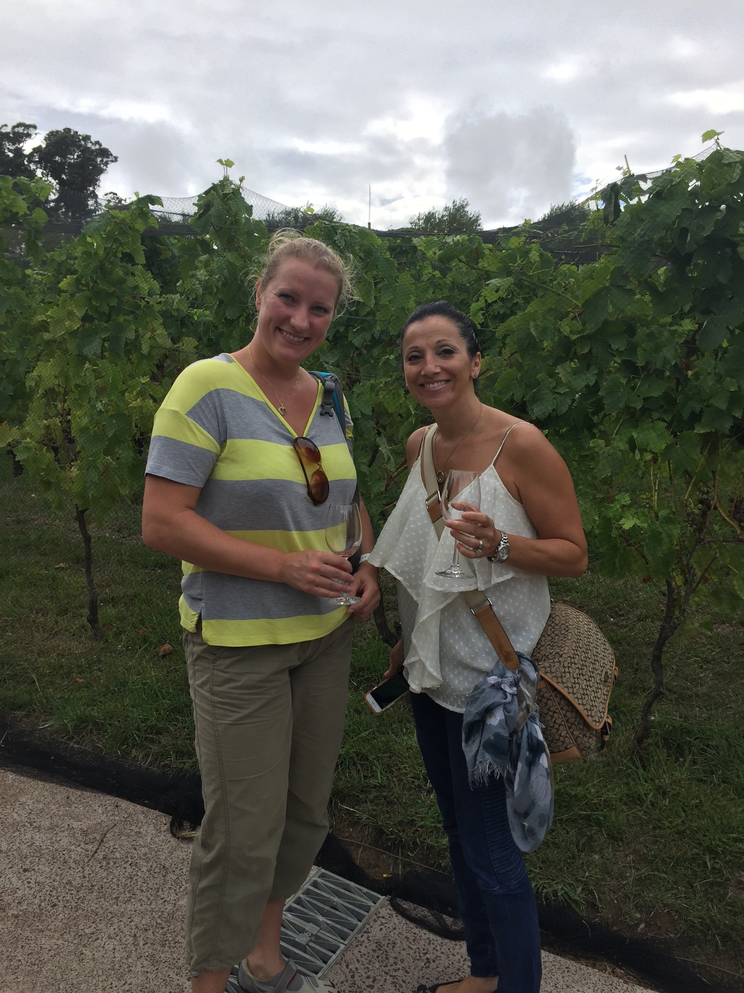 Jo and Roxanne naming the grapes for later consumption.