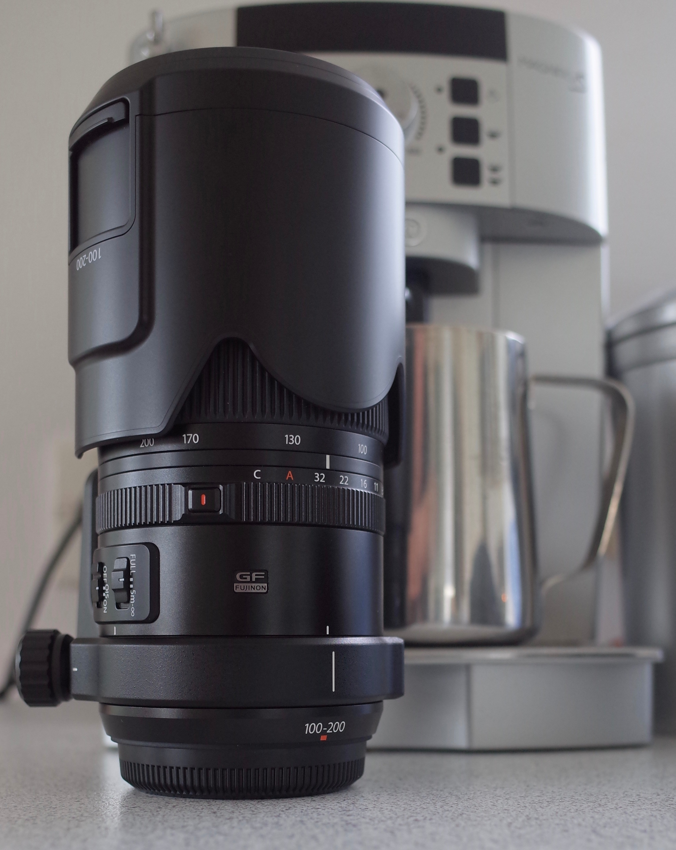 Notice the sliding door on the lens hood, this is if you have a polarizing filter attached and need to adjust.