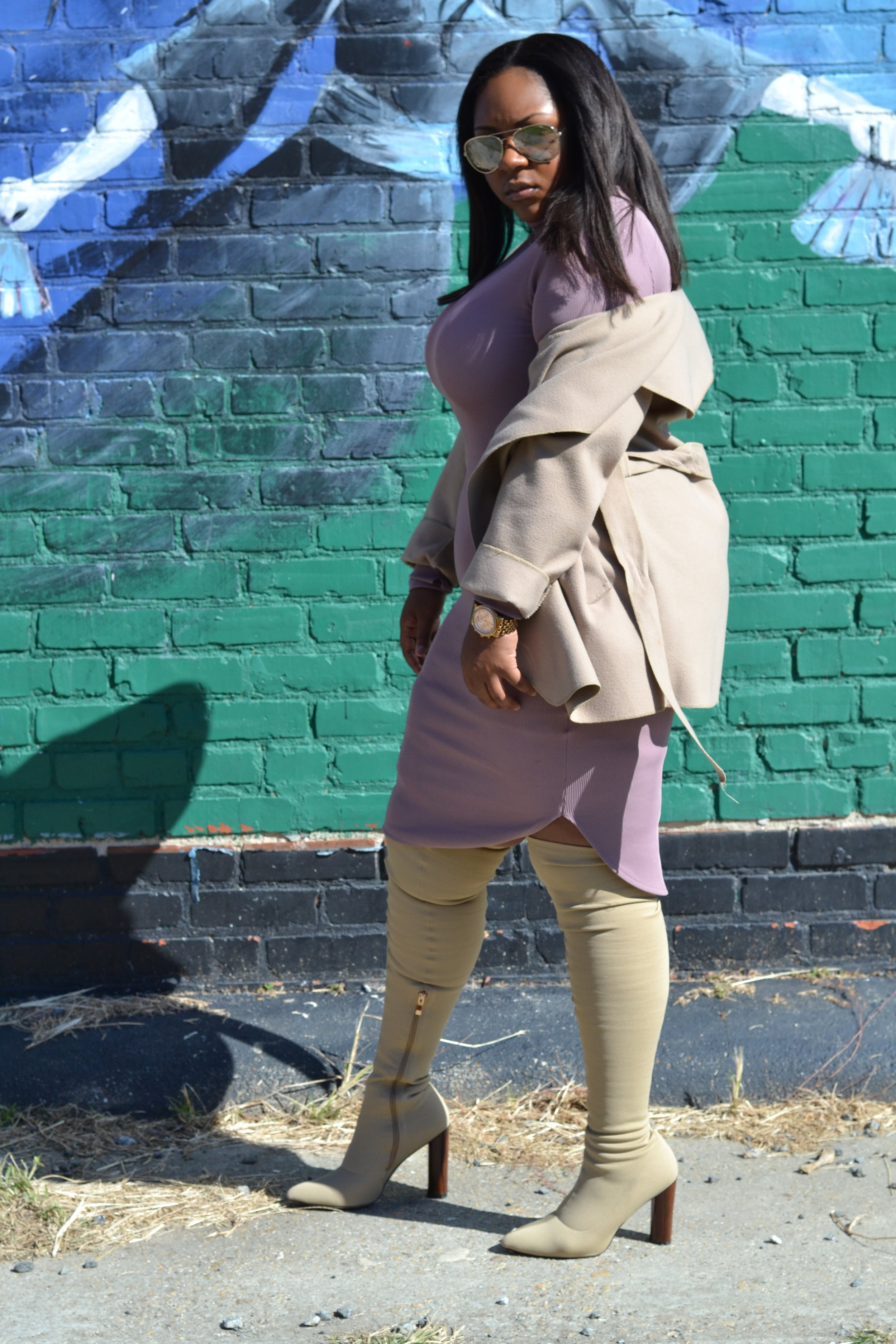 Outfit Details    -  Duster , BooHoo  -Ribbed Turtleneck Dress, H&M ( Similar )  - Boots , Ego Official