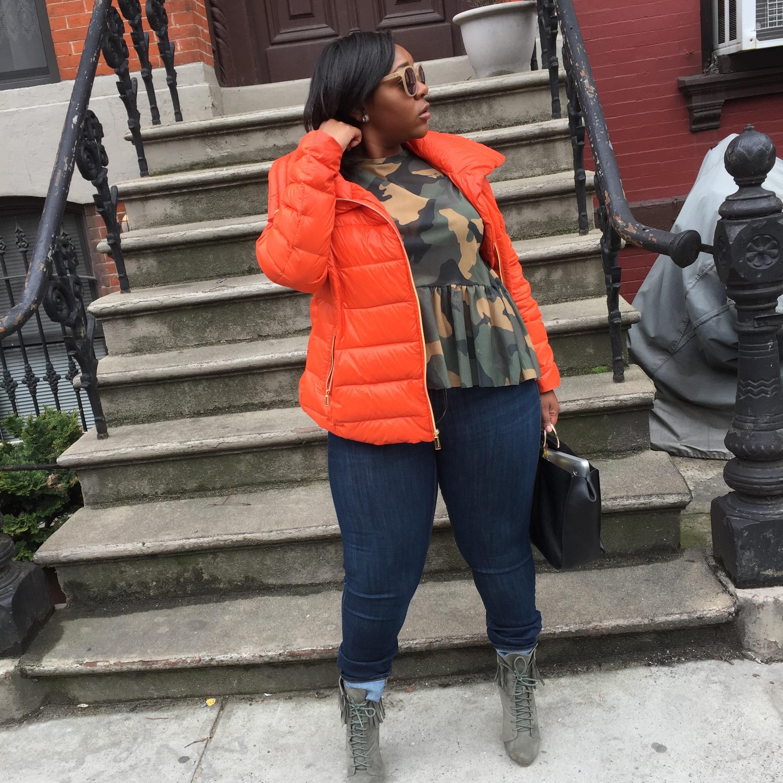 Shop My Look!  Orange Puffer Coat: BCBG ( Similar )  Camo Shirt:  Zara   Jeans:  H&M   Booties: Public Desire (Sold Out)  Bag:  Zara   Shades: Target ( Similar )    Xoxo,  Your Favorite Girl Boss  Asia Milia