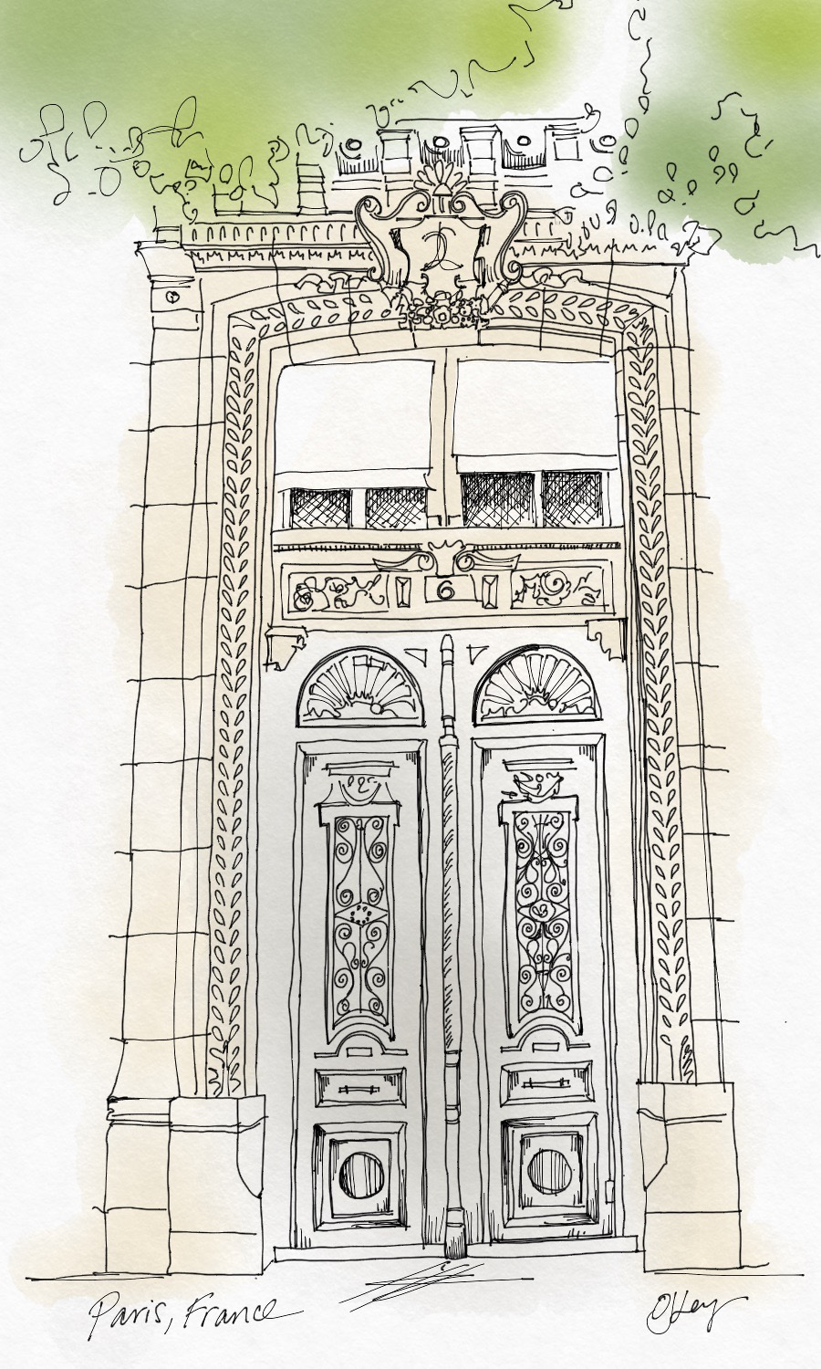 A door I photographed a few years ago; colored with ipad pen.