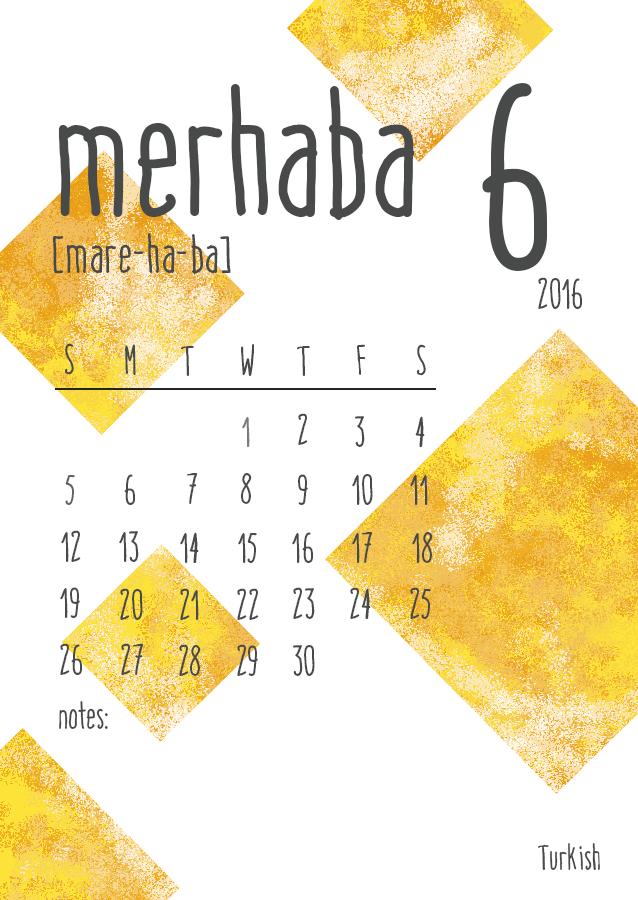 Hello World - 2016 Calendar
